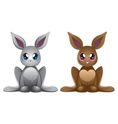 White and brown rabbits vector