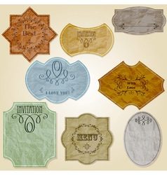 vintage labels of crupled paper vector image