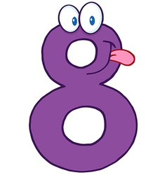 Number eight cartoon mascot character vector