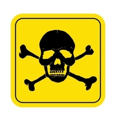 Square danger sign with skull symbol deadly vector