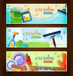 Cleaning horizontal banners set vector