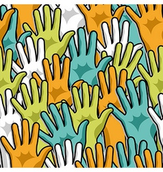 Democracy hands up pattern vector