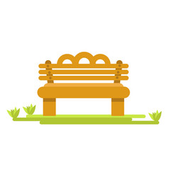 Wooden bench on green piece of grass isolated vector