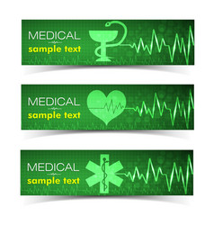 Medical green banners set vector