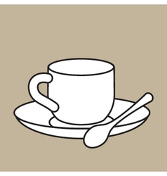 Cup with teaspoon vector