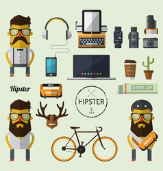 Hipster character with set of Hipster icon vector image