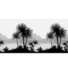 Seamless landscape palms sea and mountains vector