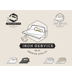 Simple flat black and white steam iron cleaning vector