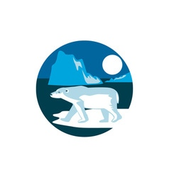 Polar bear iceberg circle retro vector