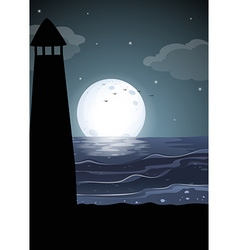 Silhouette lighthouse by the ocean vector