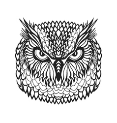 Zentangle stylized eagle owl head tribal sketch vector