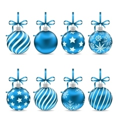 Set christmas blue shiny balls with bow ribbons vector