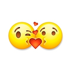 Kissing emoticons valentines day emoticon icon vector