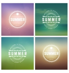 Summer holidays retro typography set vector