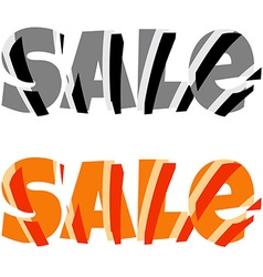 Sale signs in black and white and orange colors vector