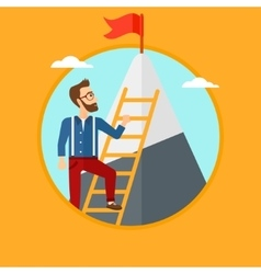 Man climbing on mountain vector