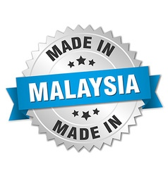 Made in malaysia silver badge with blue ribbon vector