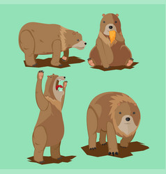 bear wild character cartoon set vector image vector image