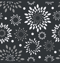 black white grey floral background monochrome vector image