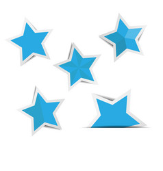 blue star paper stickers with shadows vector image