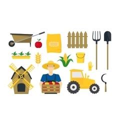 Cartoon farming elements and equipment set vector