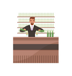 Cheerful bartender preparing cocktails at the bar vector