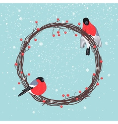 Christmas Wreath with Bullfinches vector image