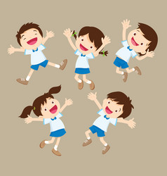 cute student boy and girl jumping be happy vector image vector image