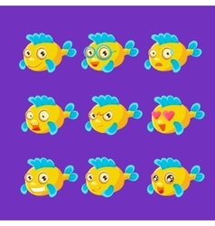 Cute yellow aquarium fish cartoon character set of vector
