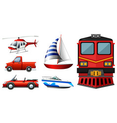 Different kinds of transportations vector