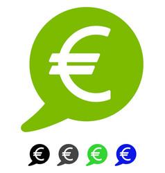 Euro message balloon flat icon vector