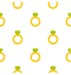 Gold ring with green gem pattern seamless vector