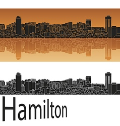 Hamilton skyline in orange vector image vector image