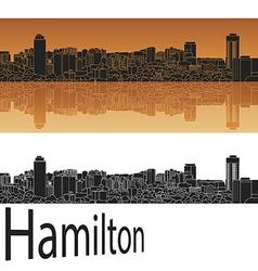 Hamilton skyline in orange vector
