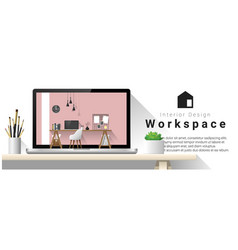 Interior design of modern office workplace vector