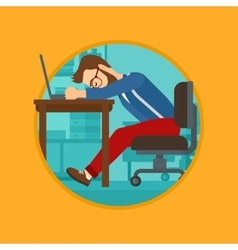 Man sleeping on workplace vector