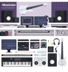 Musician workspace with musical instruments vector
