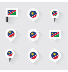 Namibia flag and pins for infographic and map vector