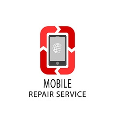 Repair service logo fix mobile and tablet devices vector