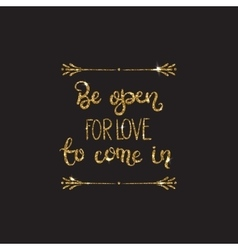 Romantic lettering with glitter Golden sparkles vector image vector image