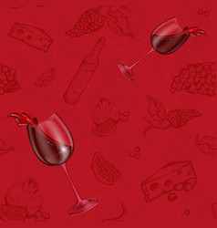 seamless pattern drawing on a red vector image