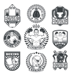 Set boxing badges stickers isolated on white vector