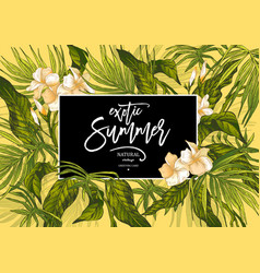 Summer leaves vintage exotic greeting card vector