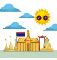 thai building temple flag monument buddha vector image vector image