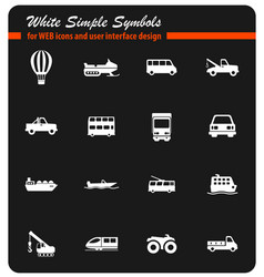 transportation simply icons vector image vector image