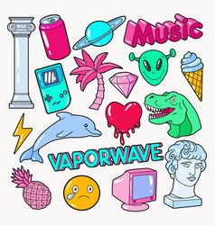 vaporwave teenager style doodle with dinosaur vector image