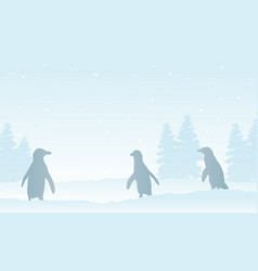 White background on snow with penguin silhouettes vector