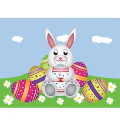 White bunny with Easter eggs2 vector image