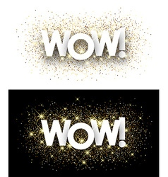 Wow paper banners vector