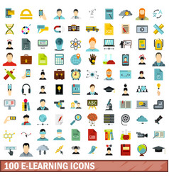 100 e-learning icons set flat style vector image vector image